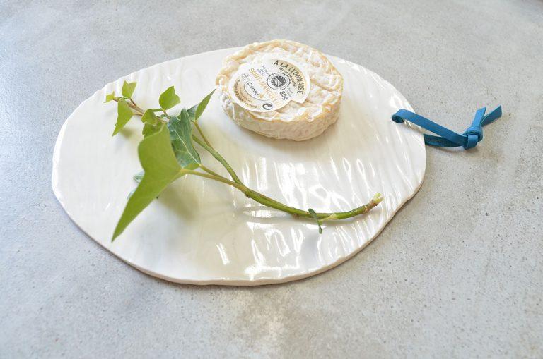 plateau porcelaine et cuir ceramique